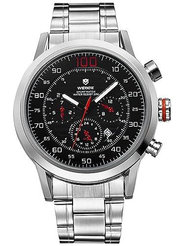 Alienwork Quarz Armbanduhr XXL Oversized Uhr Herren Uhren Multi-funktion Metall schwarz silber OS.WH...