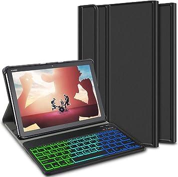 ELTD Teclado Estuche con Portalápices para Huawei MediaPad M5 Lite 10 Pouces,[QWERTY Ingles,Sin ñ],7 retroiluminación LED de Colores con 3 Niveles Control, Funda con Wireless Teclado,BG-Negro: Amazon.es: Electrónica