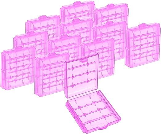 com-four® 12x Caja de Pilas de Plástico - Caja de Almacenamiento ...