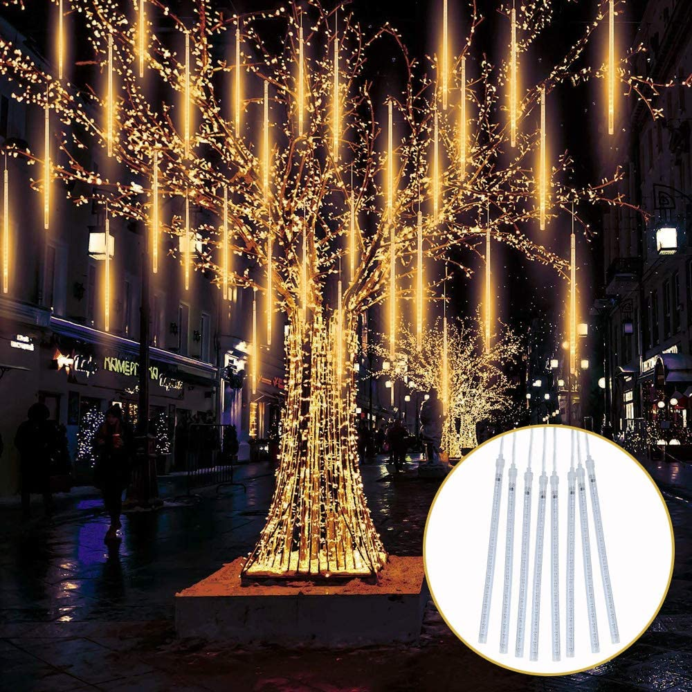 LED Meteor Shower Christmas Lights 30cm 8 Tubes 144 LED TOPIST Falling Raindrop Lights Icicle Snow Falling Rain Lights for Party Holiday Garden Xmas Tree Decoration Warm White