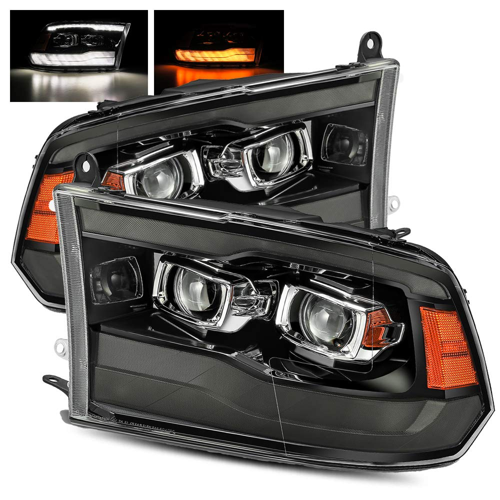 AlphaRex Smoke Black For 13-18 Ram 1500/2500/3500 Factory Projector Top and Bottom DRL/Switchback Sequential Signal Dual Projector Headlights