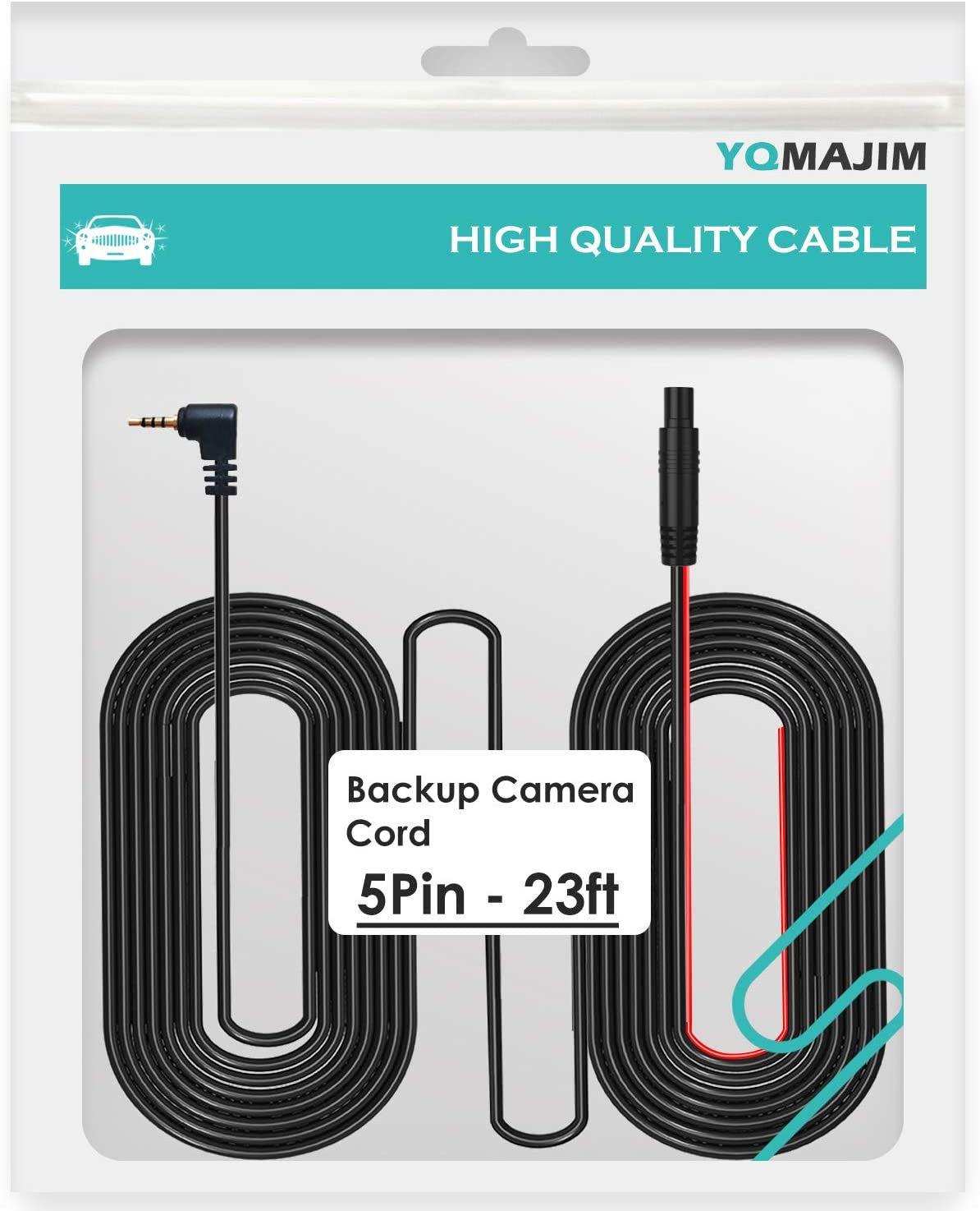 5 Pin to 2.5mm Male 23 Ft Back Up Camera Cable,Dash Cam Reverse Camera Cable Dash Cam Cable Mirror Camera Cable with Trigger Cable