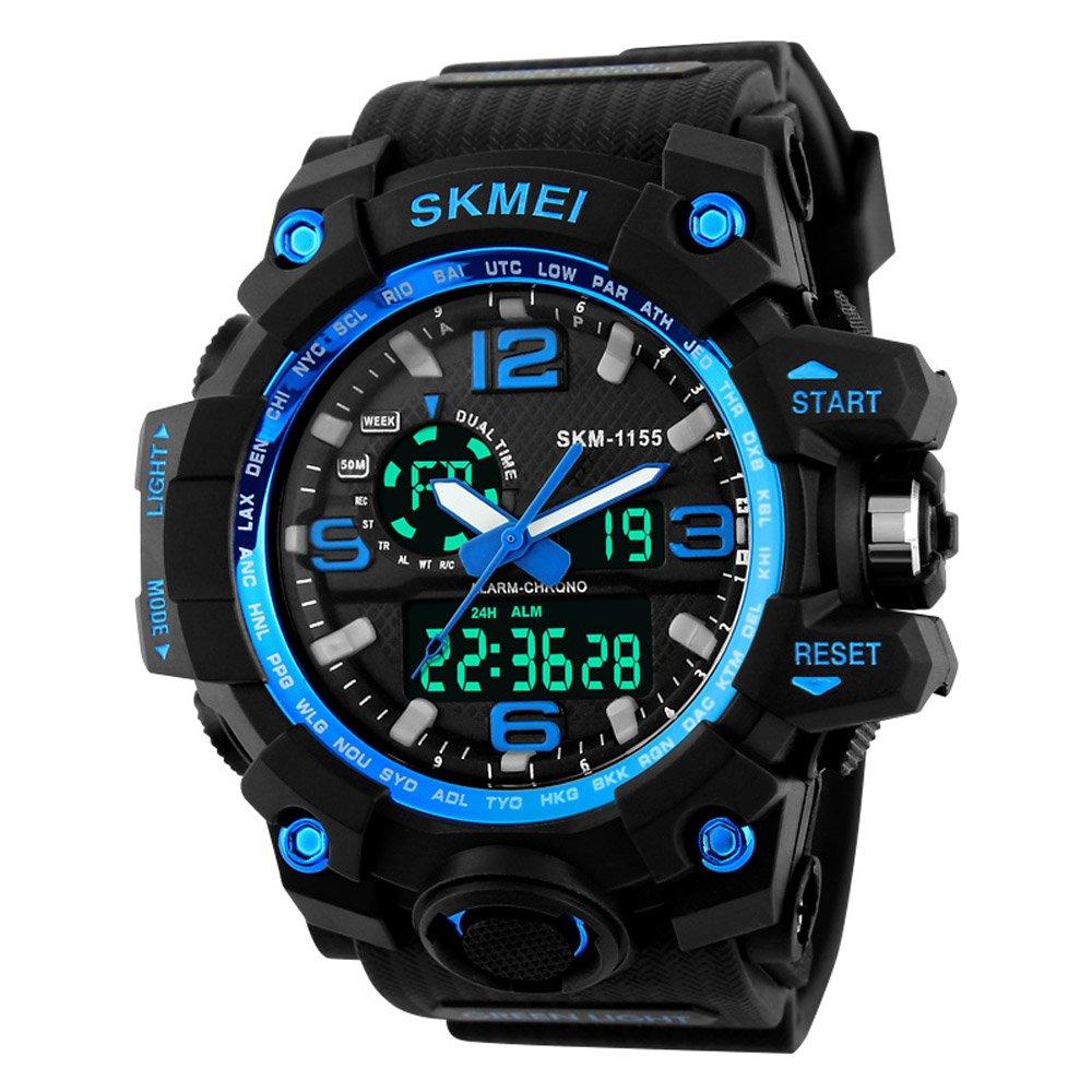 BesWLZ Men Large Dual Dial Analog Digital Quartz Multifunction 50M Water Resistant Watches (Blue)