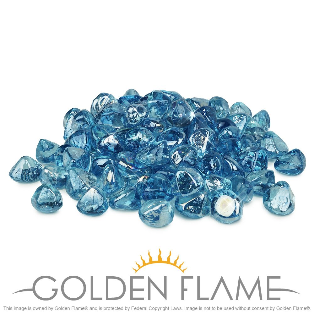 Golden Flame 20-Pound Fire Glass 1-Inch Pacific Blue Fire-Diamonds by Golden Flame