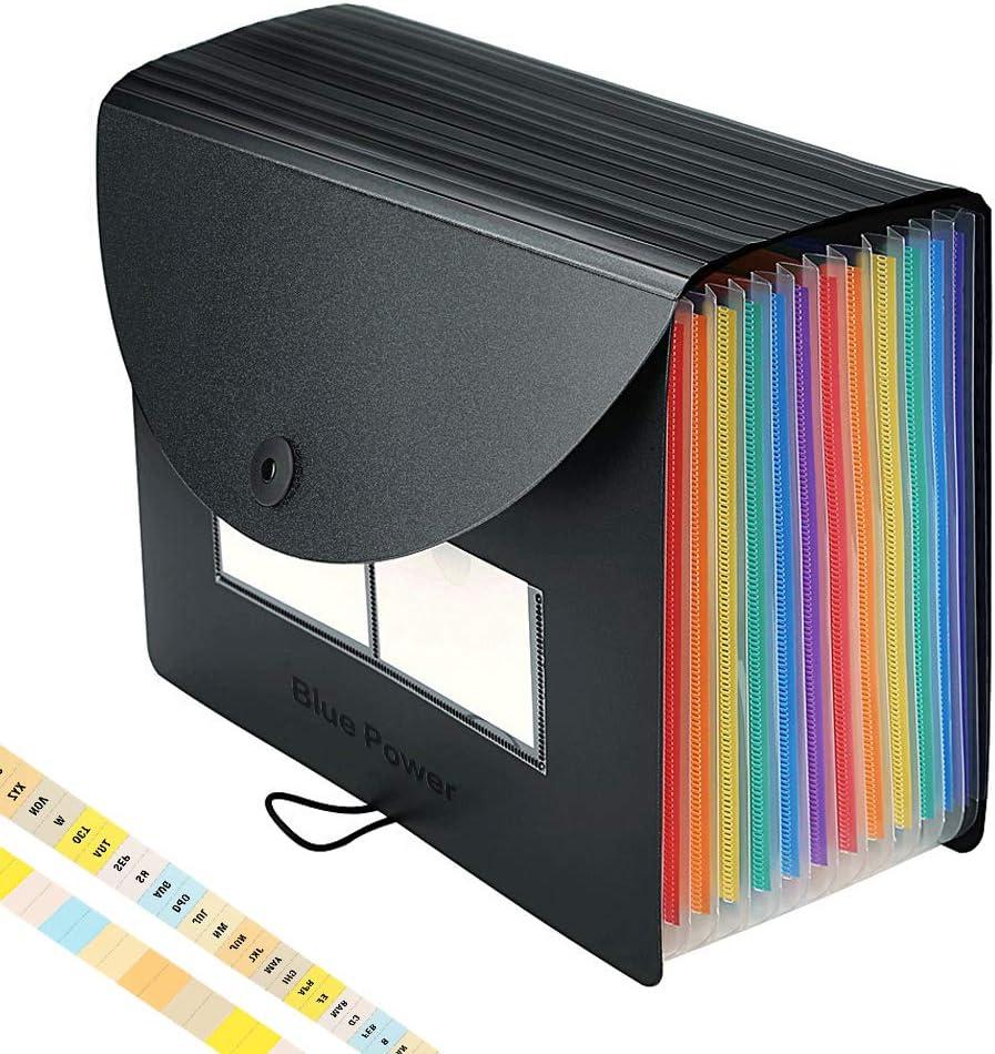 Carpeta Archivadora/Clasificadora Acordeon,12 Bolsillos Acordeón Separadores Archivadores,Ampliación Carpetas con Fundas de Plastico,Colores Archivador Documentos Organizador,A4 Papeles Clasificador