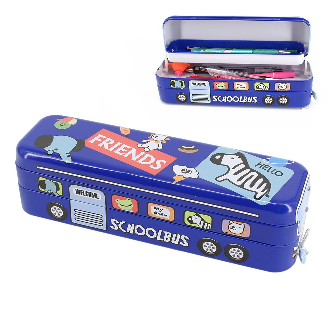 Multifit Boys Large Capacity Racing Schoolbus Tinplate Three Layers 9*9 Multiplication Table Pencil Box(Elephant)