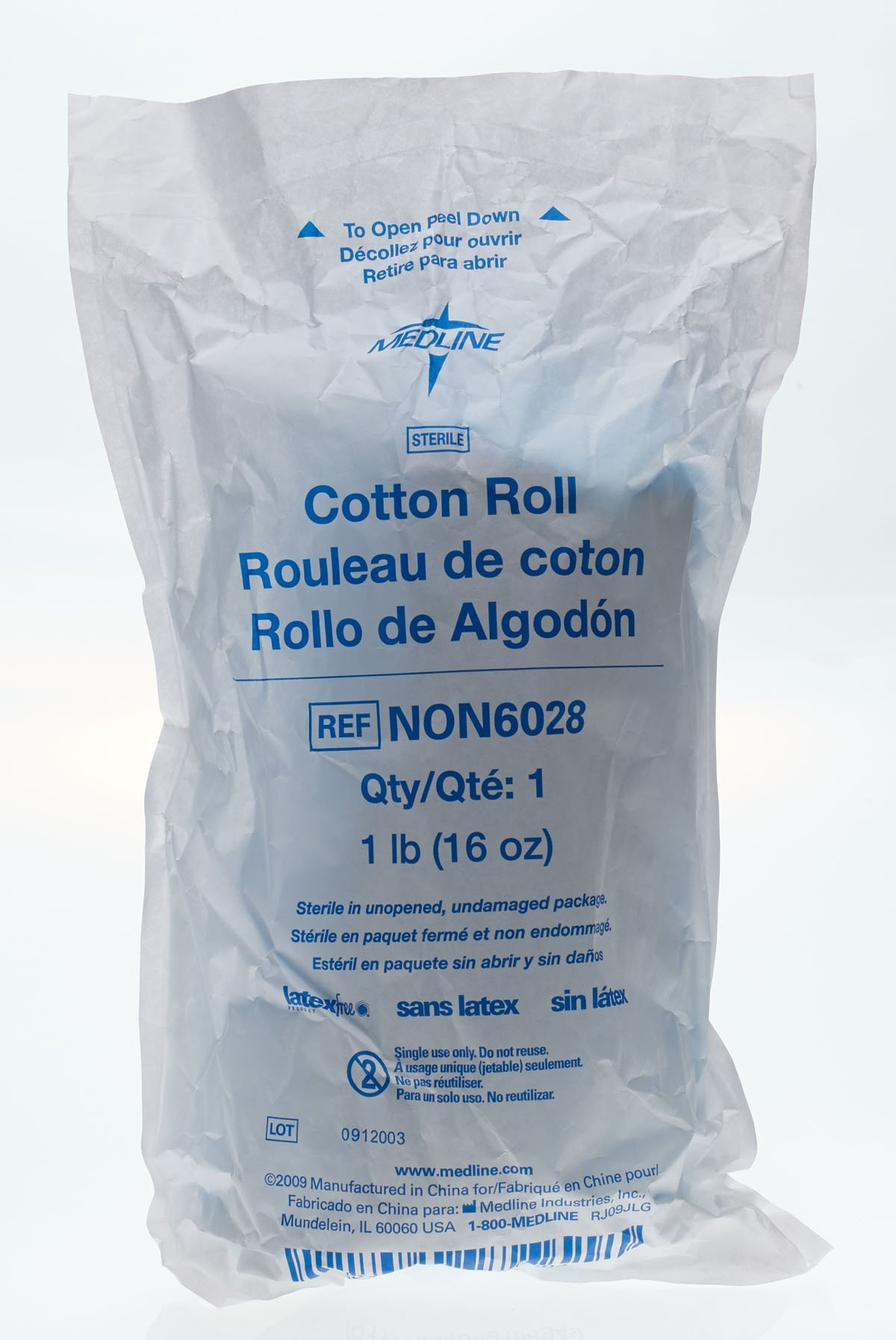 Medline NON6028H Cotton Roll, Sterile, 1 lb, Large