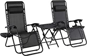 OKVAC 3Pcs Zero Gravity Chair Set, Adjustable Folding Patio Lounge Recliner & Table, w/Pillows & Cup Holder Trays, for in/Outdoor, Poolside, Yard, Garden, Lawn, Beach, Camping, Deck, 310 LBS Capacity