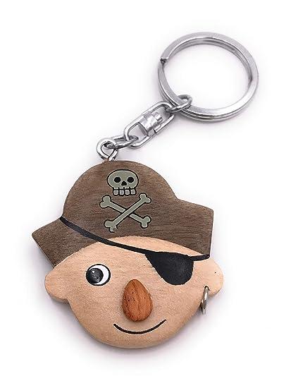 Onwomania Llavero de Madera Pirata Pirata atacante Colgante ...
