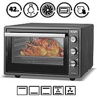 ICQN 42 Liter   Anthrazit Mini-Backofen mit Innenbeleuchtung und Umluft   Pizza-Ofen   Doppelverglasung   Timer Funktion   Emailliert