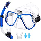 OUTERDO Snorkeling Set for Adults, Snorkel Mask with Ventilation Pipe Easy Breath, Wide View Diving Mask Anti Fog Anti Leak,