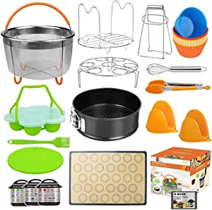 Upgraded 28pc Accessories for Instant Pot Compatible with Pressure Cooker 5,6,8 Qt, Includes Steamer Basket, Springform Pan, Non-Stick Silicone Egg Bites Mold, Baking Mat,12 Baking Cup (Ebook RECIPES)