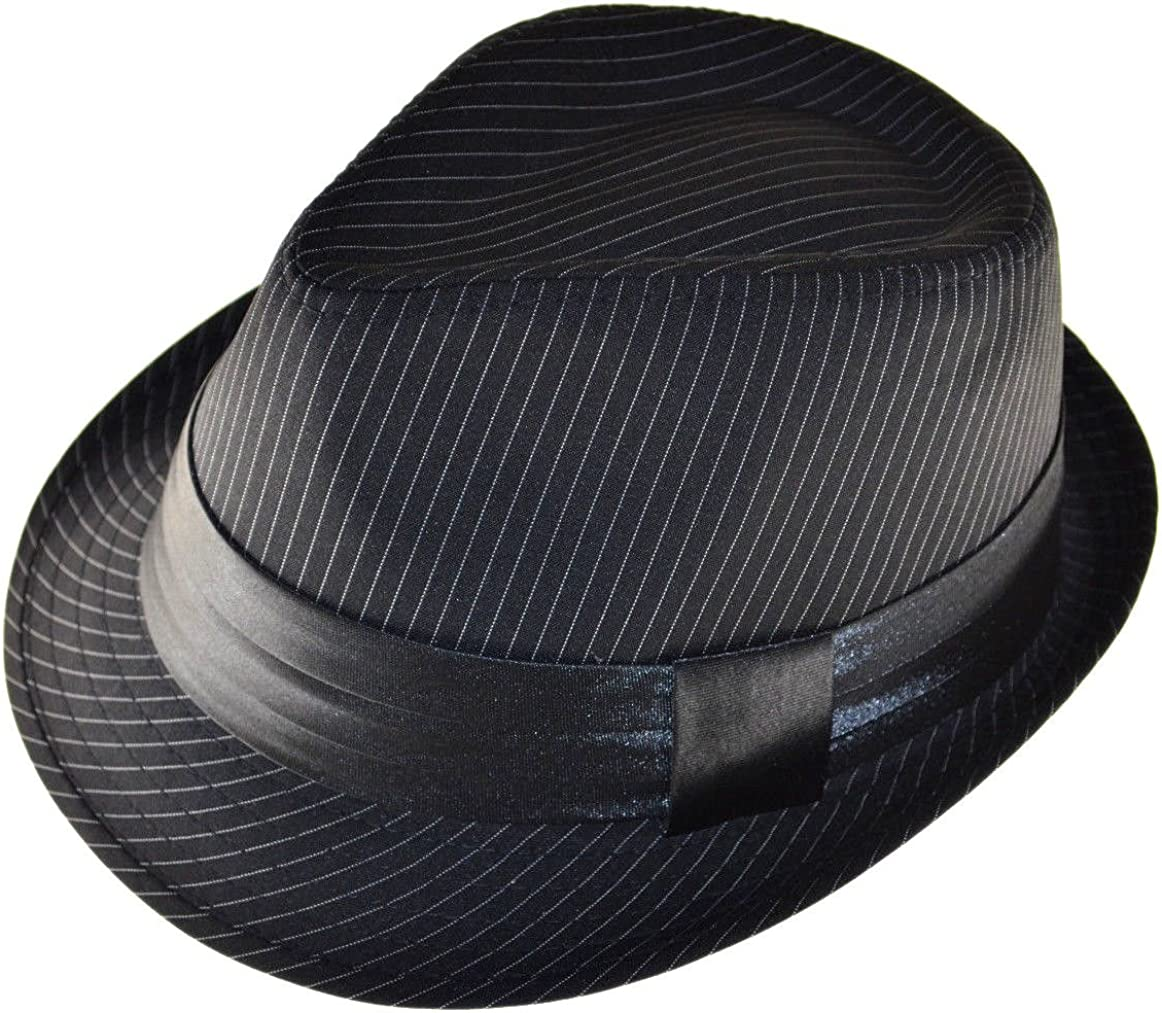 K Men's Black Pinstripe Fedora Hat with Black Band Xl