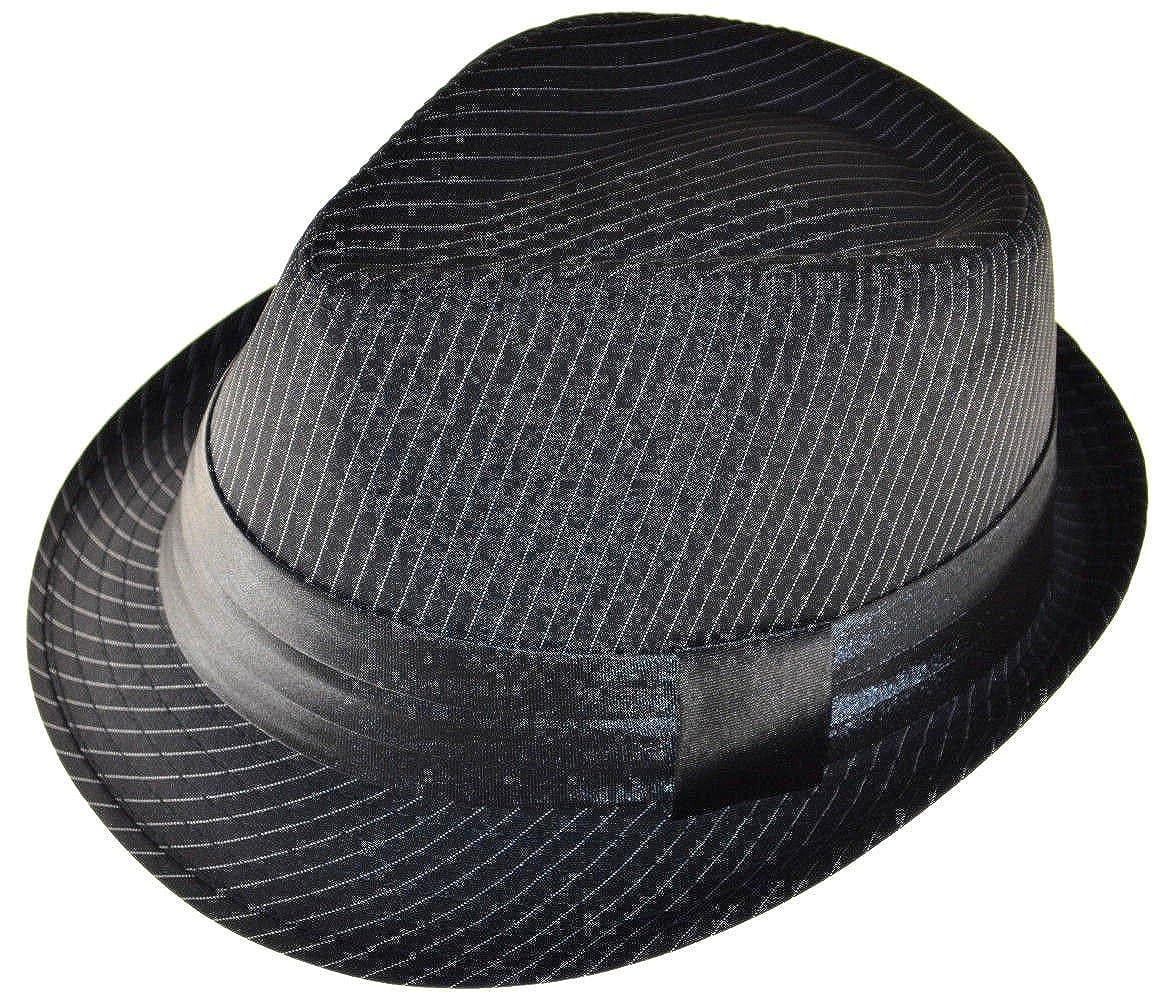 K Men s Black Pinstripe Fedora Hat with Black Band Large at Amazon Women s  Clothing store  b580223d733