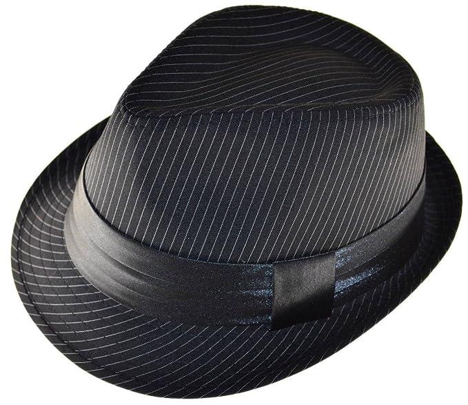K Men s Fedora Black White Stripes with Black Band at Amazon Men s ... 924152a34a4