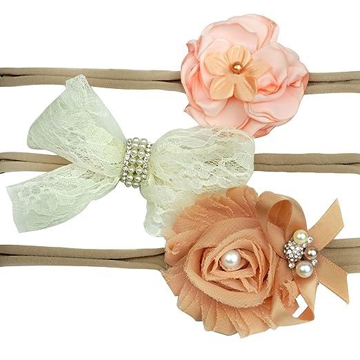 Star Picker Baby Girls Flower Bow Headbands 3pcs Hair Accessories Gift Set  (Khaki(Lace 103de8e964d