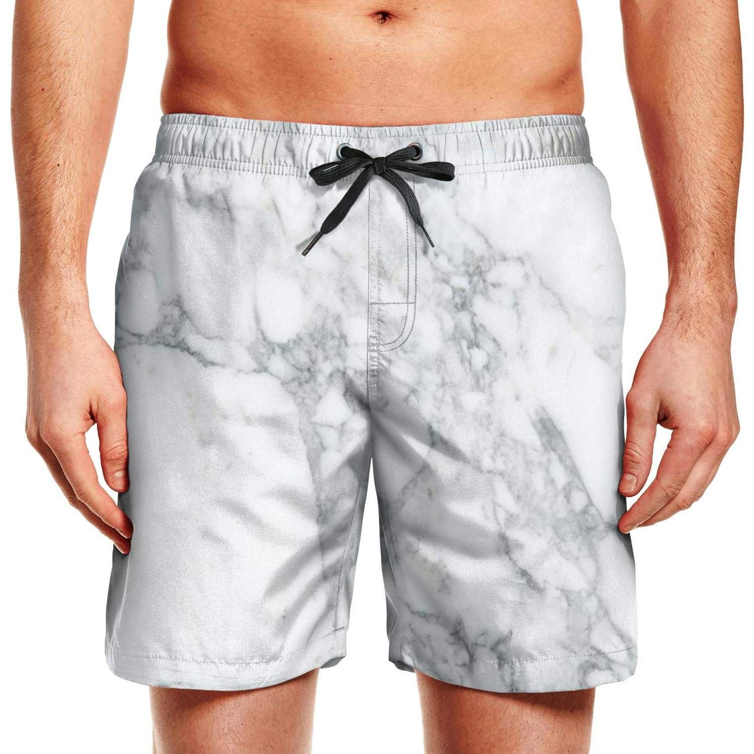 Mens Swim White Marble Rock Ruched Brief Adjustable Workout Shorts