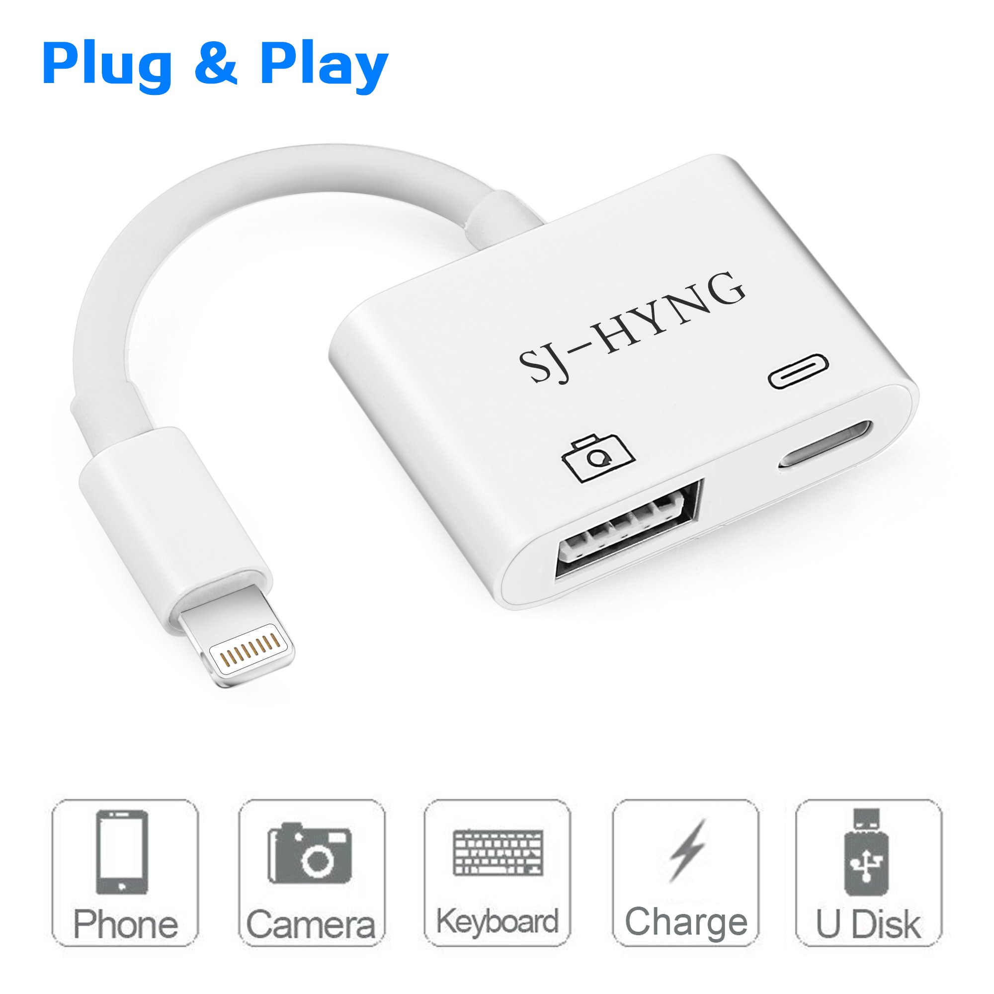 Lightning to USB Camera Adapter,SJ-HYNG Lightning to USB 3.0 Female OTG Adapter Cable With USB Power Interface Data Sync Charge Cable For iPhone and iPad (Support the latest iOS 11.3),No App Required