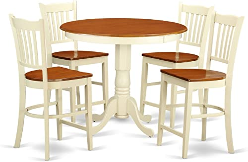 JAGR5-WHI-W 5 PC counter height Dining set-pub Table and 4 bar stools with backs