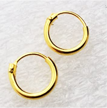 Amazon Ultra Small HOOP Earrings 18K gold over silver 8mm