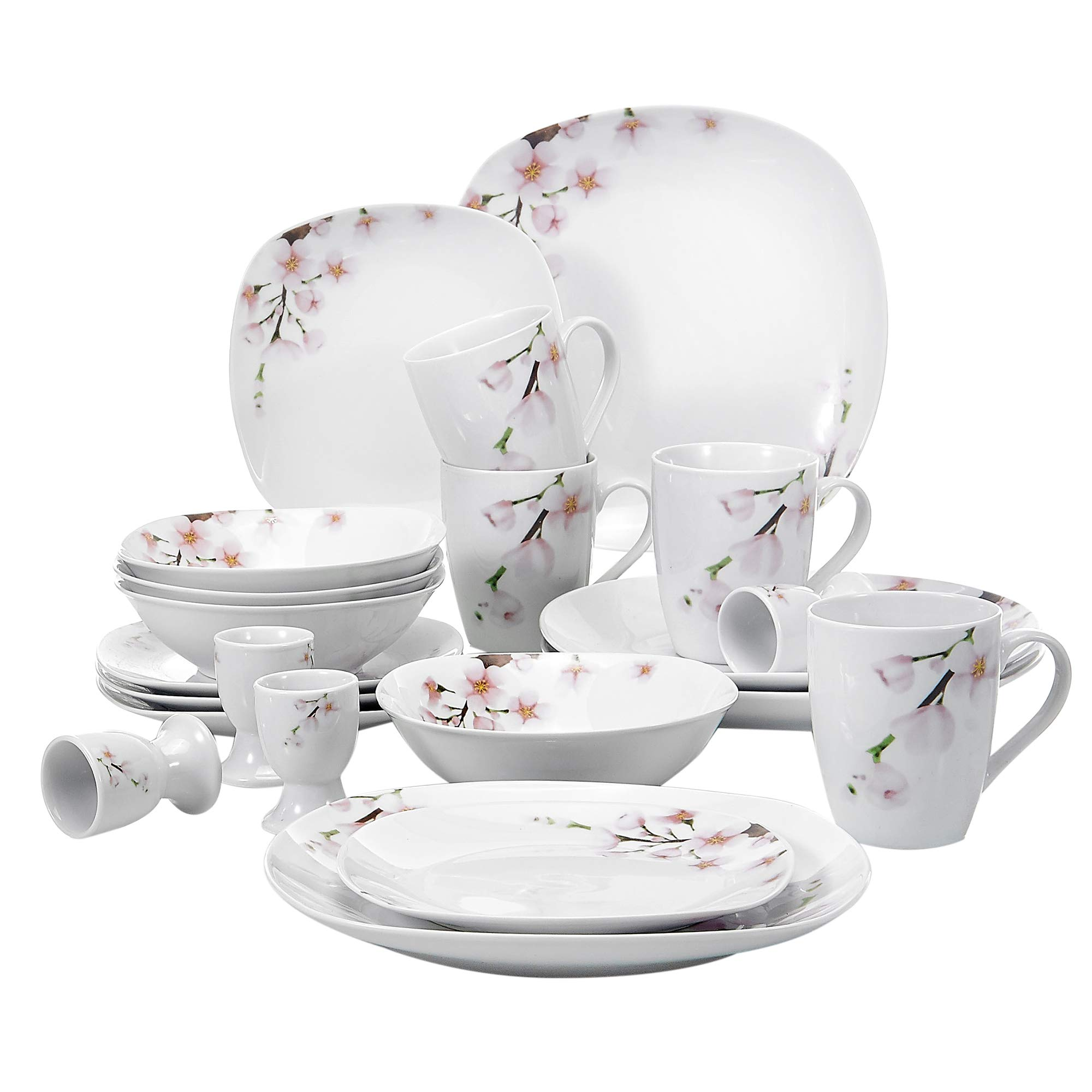 VEWEET 20-Piece Square Porcelain Dinnerware Sets