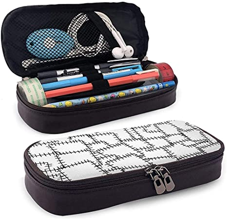 Patchwork Adorno Costura Parches de tela Estuche de lápices de cuero Impreso Lindo Estuche de lápices Estuche de útiles escolares para estudiantes, estuche de papelería de gran capacidad: Amazon.es: Oficina y papelería
