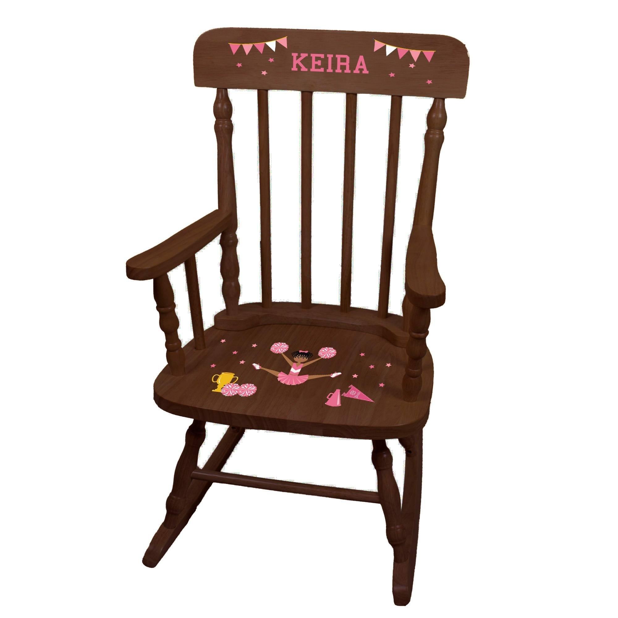 MyBambino Personalized Cheerleader African American Pink Espresso Childrens Rocking Chair