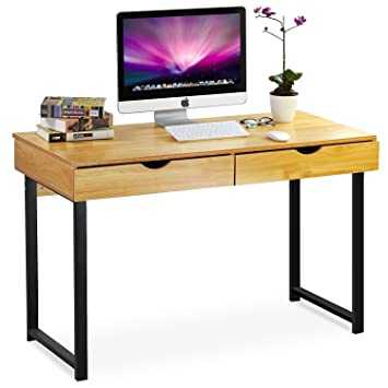 Tribesigns Computer Desk Modern Stylish 47u0026quot; Home Office Study Table  Writing Desk Workstation With 2