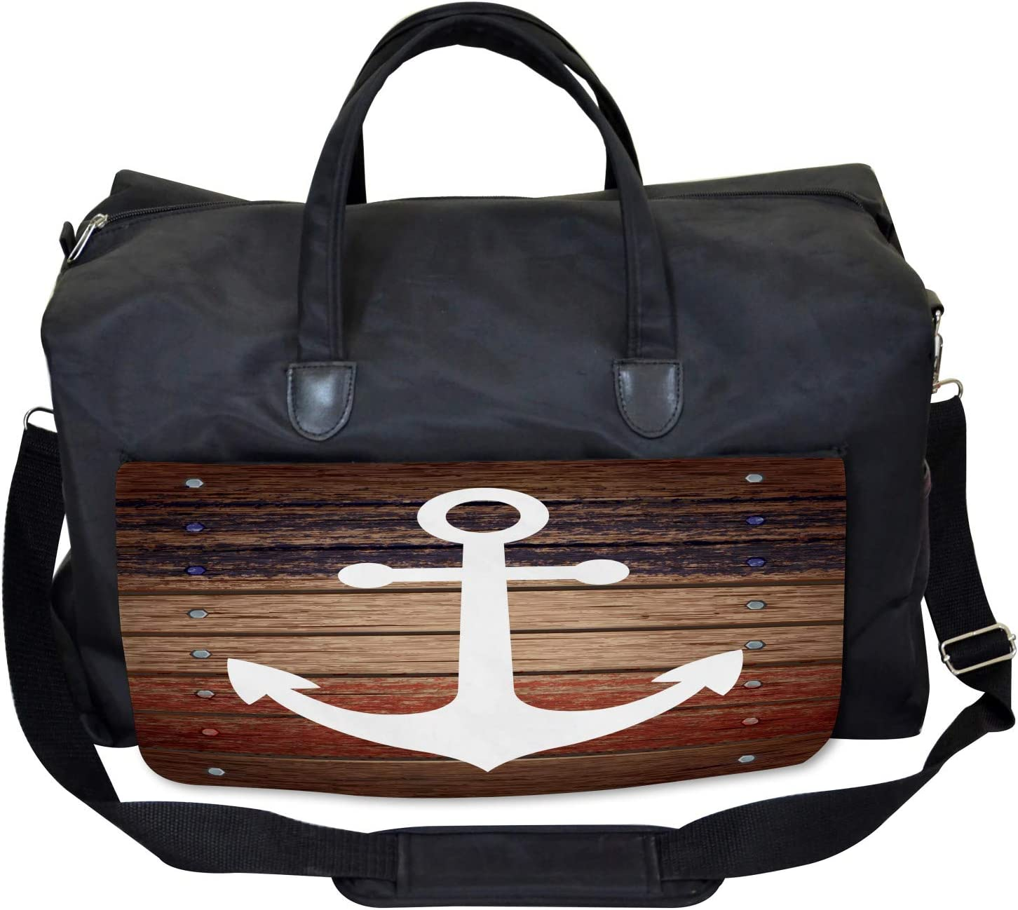 Ambesonne Marine Gym Bag Boat Theme Anchor Motif Large Weekender Carry-on