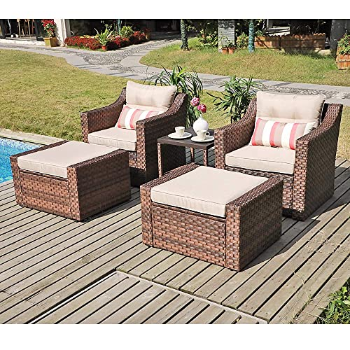 SUNSITT Outdoor Furniture Sofa Set 5-Piece Brown Wicker Lounge Chair Ottoman Set with Neutral Beige Cushions Side Table w Aluminum Top