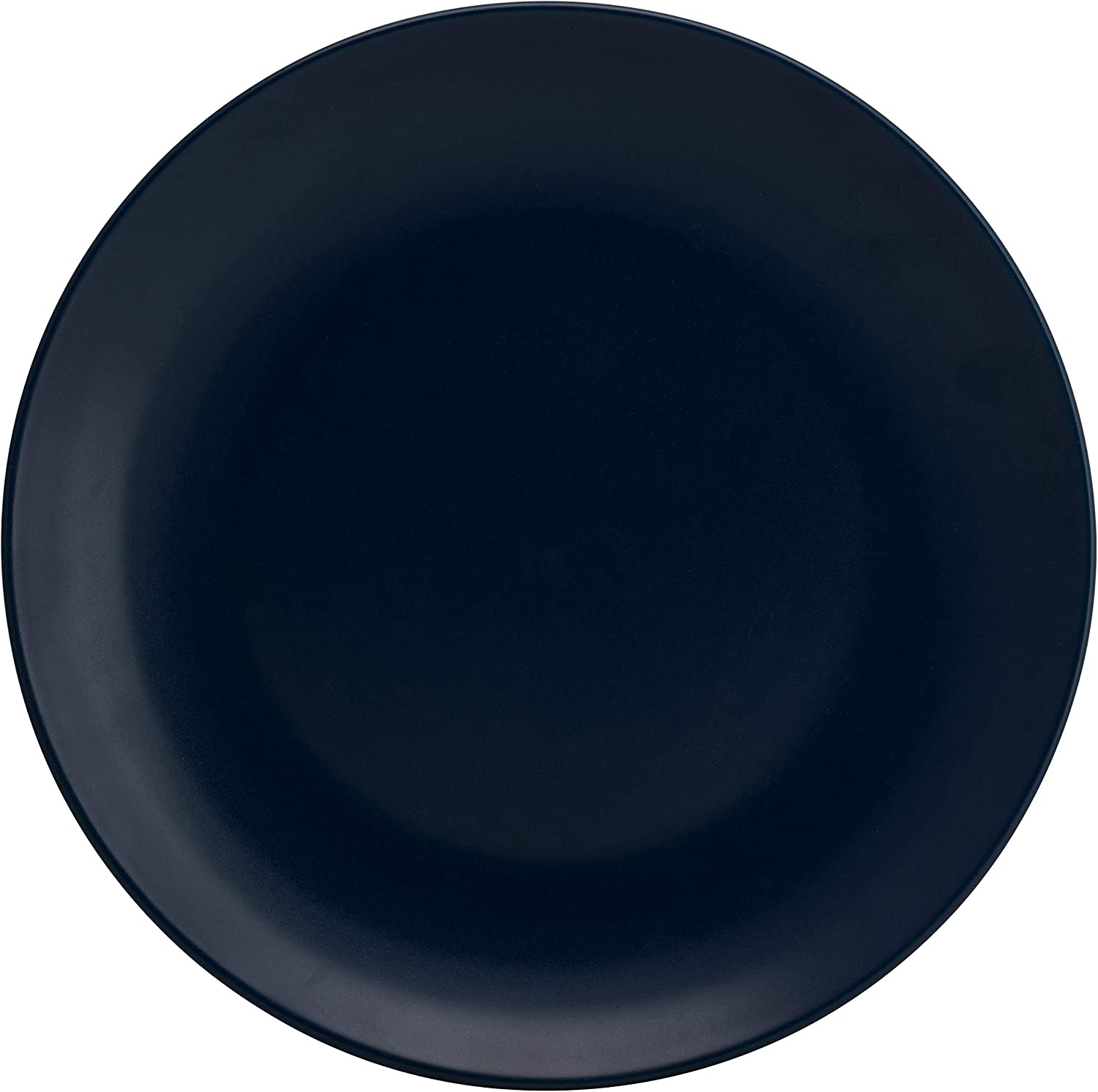 10 Strawberry Street Wazee Matte 16 Pc, Charcoal Gray Coupe Dinnerware Set Midnight Blue