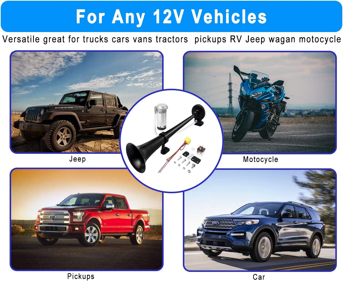 Easy to Install Motorcycle Jeep SUV Lorrys Boats Vehicles Electric 12v Loud Horns Kit with Air Compressor for Pickup Air Horn for Car 2Pac Single Trumpet Black Horns Carfka Train Horn for Trucks