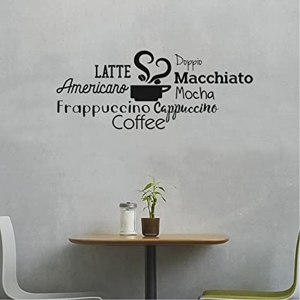 Amazon.com: Coffee Mocha Latte Cappuccino Words Sign- Wall Art Decal ...