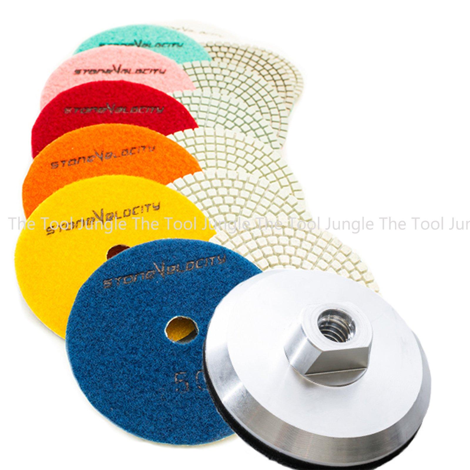 Diamond Polishing Pads 4 inch Wet/Dry 8 Piece Set Granite Stone Concrete Marble (Set with Aluminum Backer)