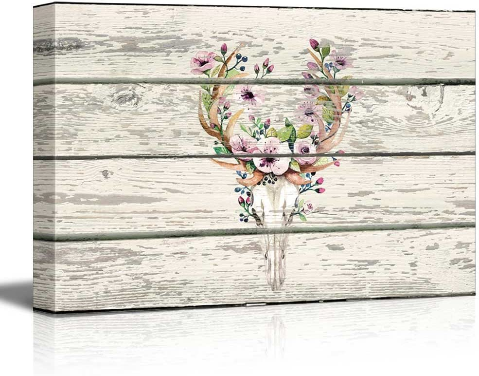 wall26 - Flowering Deer Skull - Western Floral Artwork - Rustic Canvas Wall Art Home Decor - 16x24 inches