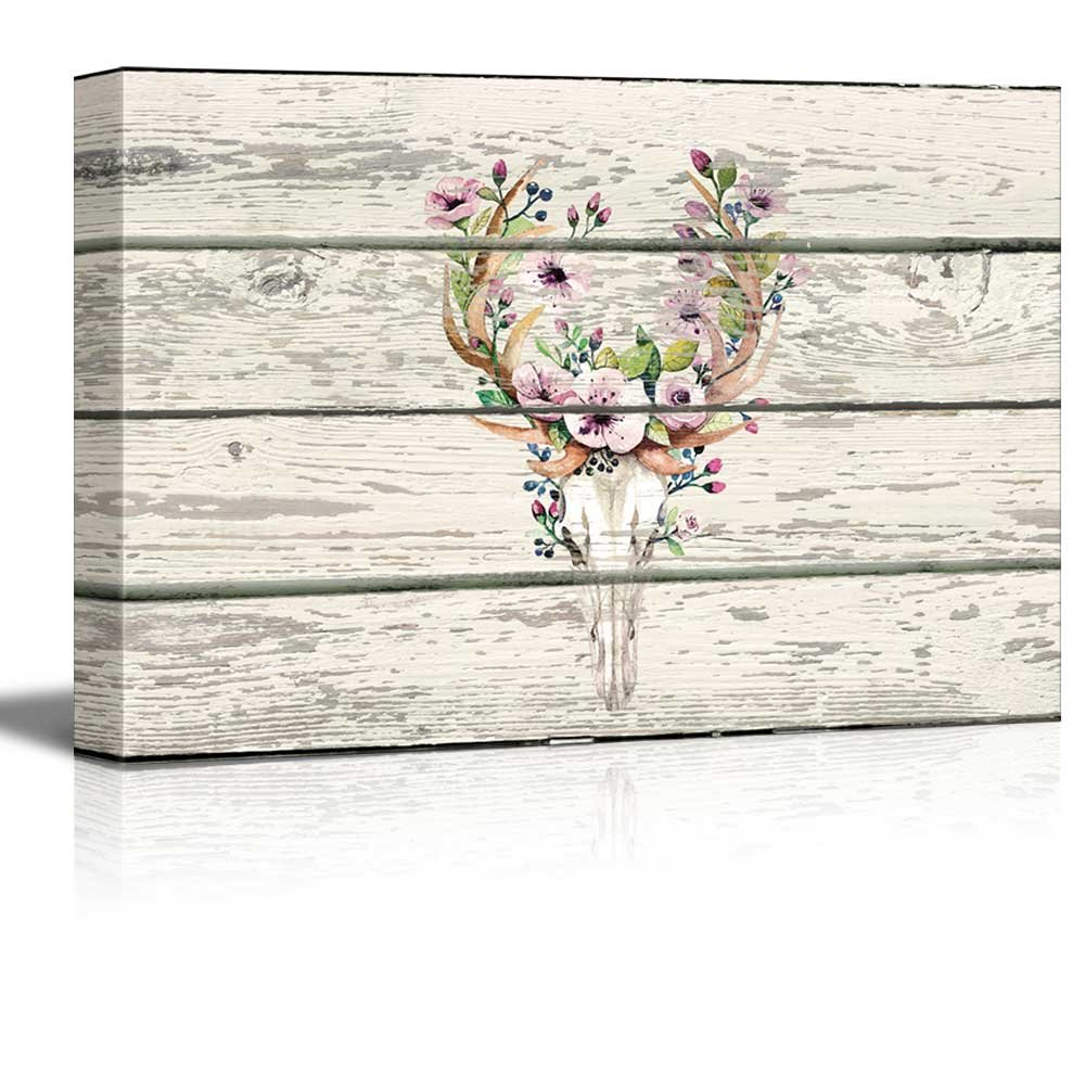 Rustic Canvas Wall Art.Details About Flowering Deer Skull Western Floral Artwork Rustic Canvas Wall Art 24x36