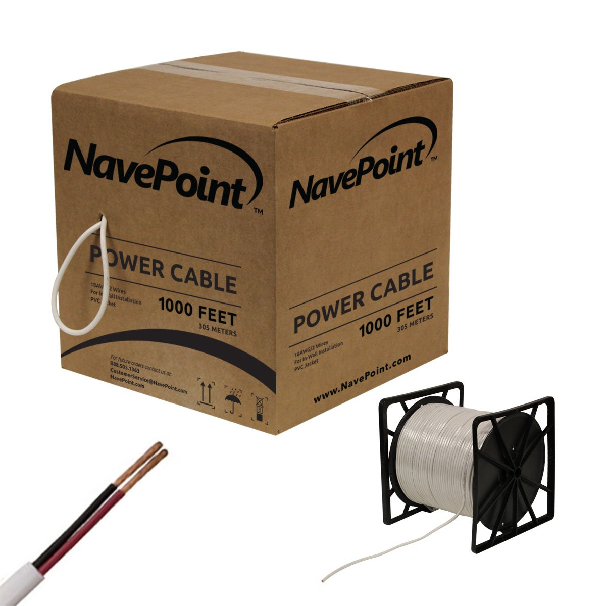 NavePoint 1000ft In Wall Power Cable 18AWG 18/2 CCTV Bulk Security Camera Power CCA White by NavePoint