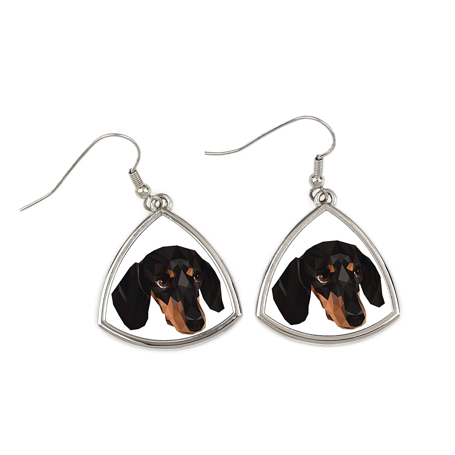 Dachshund Smoothhaired, collection of earrings with purebred dog, geometric