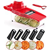 BestFire Mandoline Slicer Vegetable Mandoline Slicer Cutter Chopper, Julienne Slicer with 5 Interchangeable Blades Hand Protector Storage Container Peeler for Potato,Tomato, Onion, Cucumber,Cheese