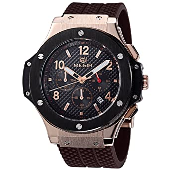 MEGIR Men Watches Rose Gold Military Quartz Wristwatches Silicone Strap Chronograph Luminous relojes