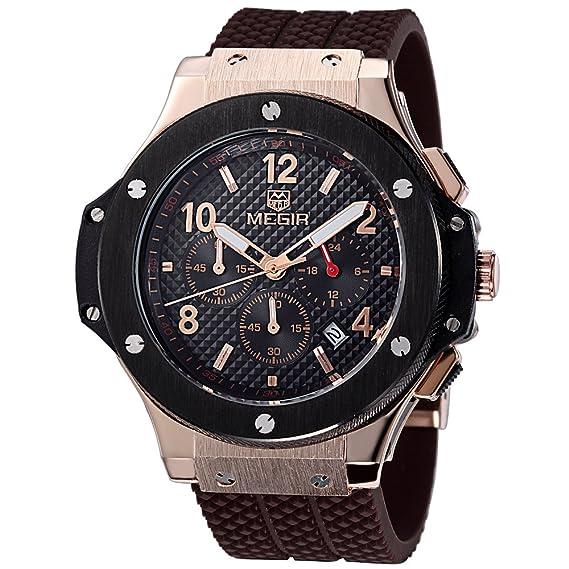 MEGIR Relojes Militar Hombre Grande oro rosa de cuarzo, marrón silicona banda, cronógrafo y resistente al agua: Amazon.es: Relojes