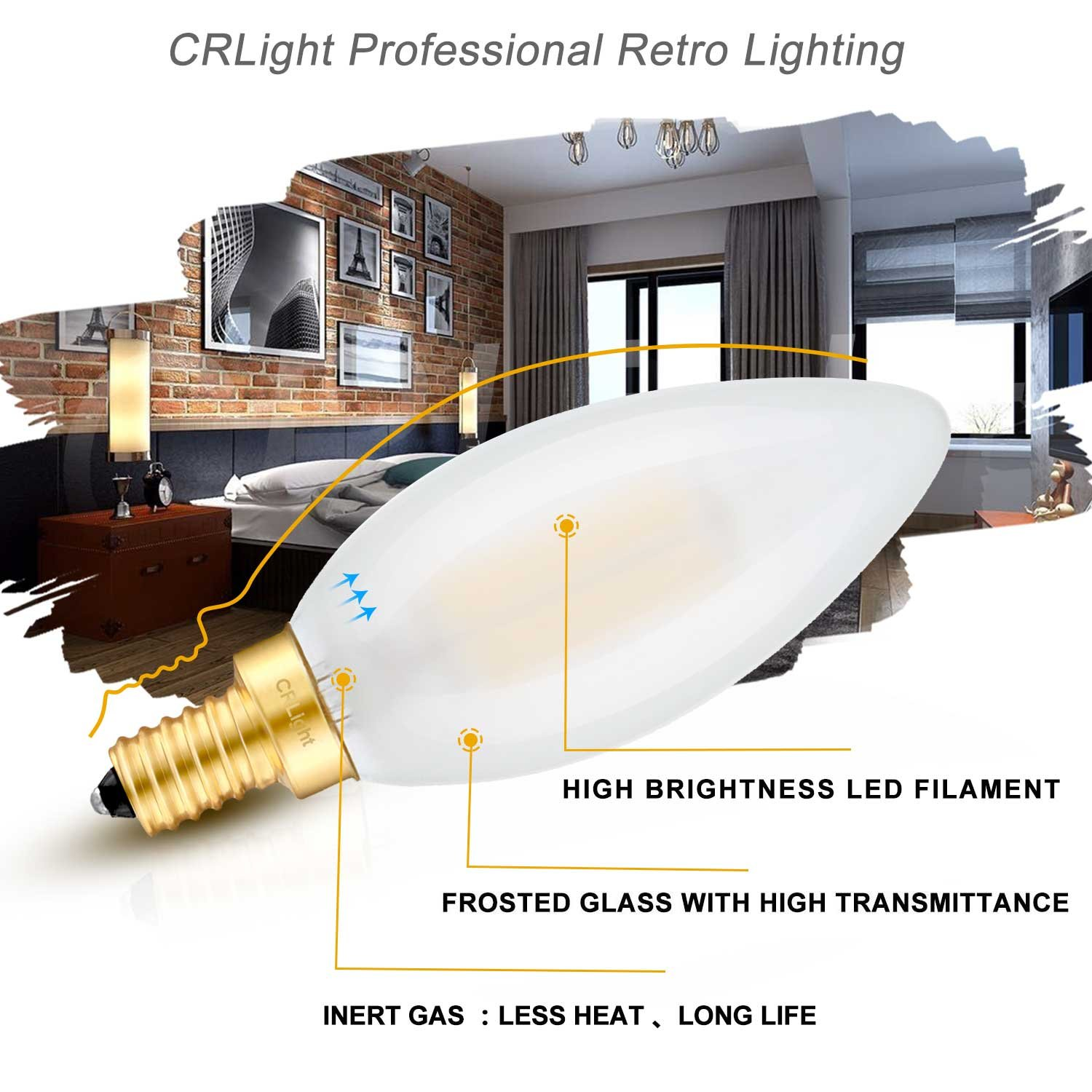 6 Pack B11 Clear Glass Torpedo Shape Bullet Top CRLight 6W 700LM Dimmable LED Candelabra Bulb 2700K Warm White 360 Degrees Beam Angle 60W Incandescent Equivalent E12 Base Filament LED Candle Bulbs