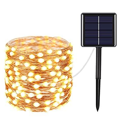 YIQU Outdoor Solar String Lights, 100 LED Oversize Lamp Beads Waterproof Solar Fairy Lights, 8 Modes Outdoor String Lights Decorations for Gardens, Yard, Patio, Deck, Party, Wedding (Warm White) : Garden & Outdoor