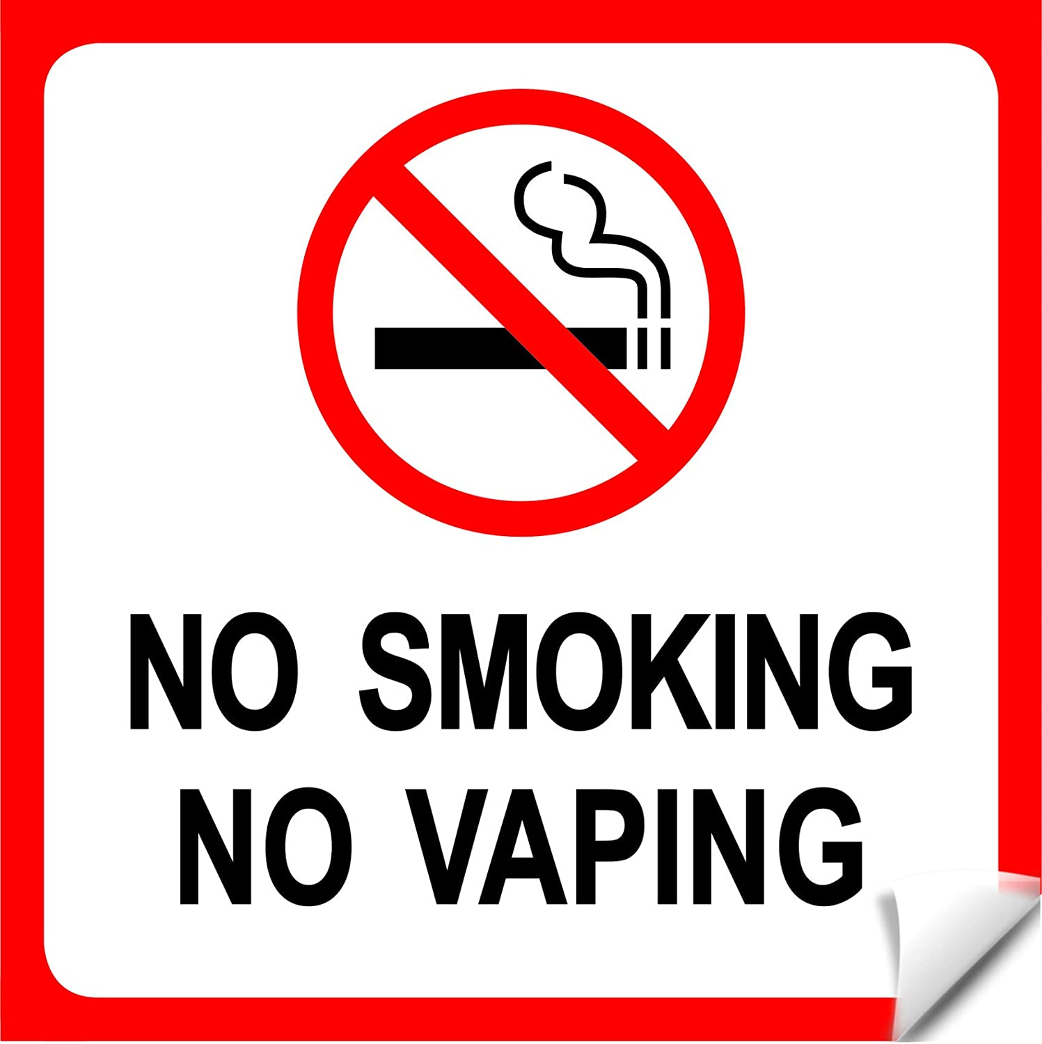 Set Of 8 No Smoking No Vaping Sign Self Adhesive Vinyl Sticker Stop Smoke Or Vaping No Cigarette Logo Large 6 X 6 Inch Red And Black No