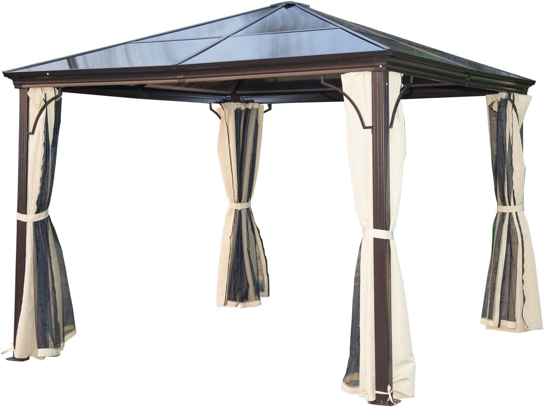 Outsunny Carpa Cenador para Jardín Gazebo Exterior para Evento Estable Anti-UV 3x3 Techo Policarbonato 4 Paravientos Mosquitera Integrada Aleación de Aluminio