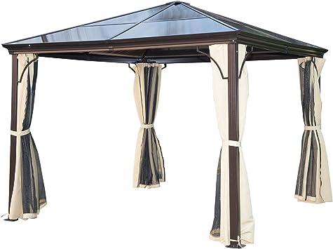 Outsunny Carpa Cenador para Jardín Gazebo Exterior para Evento Estable Anti-UV Techo Policarbonato 4 Paravientos Mosquitera Integrada Aleación de Aluminio 300x300x260cm: Amazon.es: Jardín
