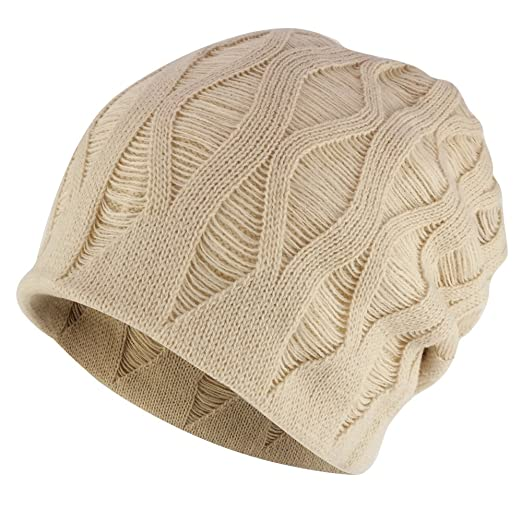 83ebb18b1177c Rasta Deep Crown Acrylic Distressed Reversible Slouchy Warm Beanie Hat -  BEIGE
