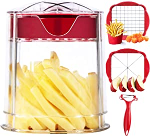French Fry Cutter, Apple Cutter, Onion Chopper, Vegetable Slicer, Super Sharp Blades, Easy to Clean, Dishwasher Safe, Perfect for Air Fryer, With Container