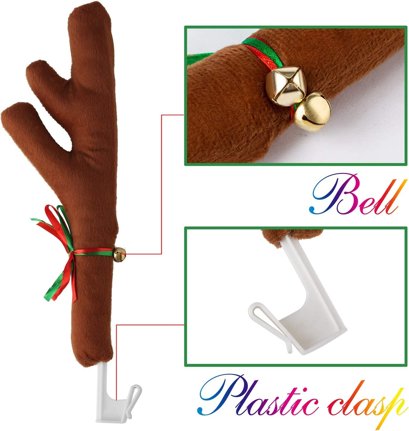 Car Decoration Christmas Antlers,Car Reindeer Antlers /& Nose Brown Car Reindeer Clothing Kit Full Set with 2 Antlers and 1 Reindeer Nose for Window Top and Front Grille