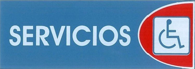 SERVICIOS (INVALIDOS). CARTEL LETRERO ADHESIVO 18 X 6 CMS ...